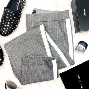 Gray Pinstripe Side Stripe Pull On Ankle Pants